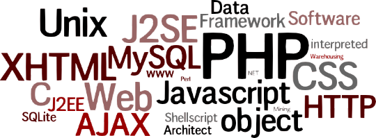 PHP 5 (object) — J2SE — XHTML 1.x — CSS 2/3 — MySQL 3/4/5 — Advanced Javascript (procedural & object) — AJAX — Shell script (Unix) — SQLite — Perl — Basics of J2EE — Basics of .NET — C — C# — Data Mining — Data Warehousing — Image processing